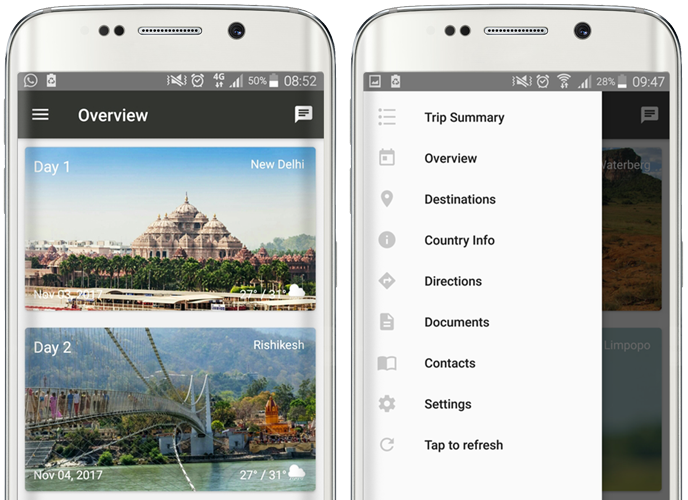 smartphones displaying wetu itinerary app features