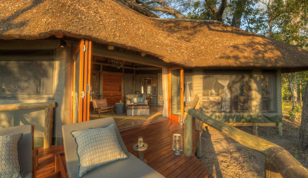 Private deck looking into the Moremi Game Reserve