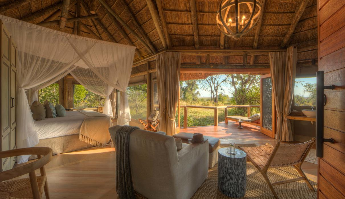 Interior view of the guest tents at Camp Moremi