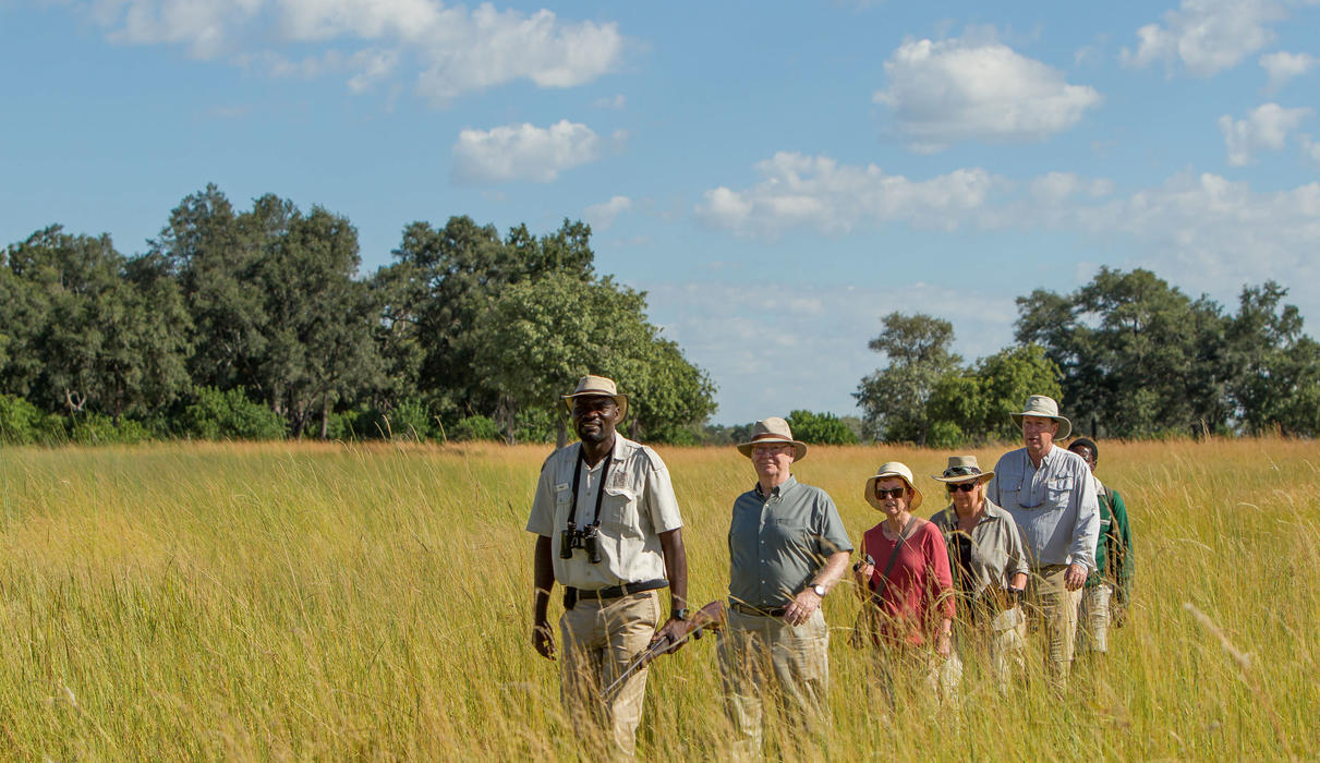 Guided bush walk in the Okavango Delta with armed guides in the Okavango Delta with Xugana Island Lodge