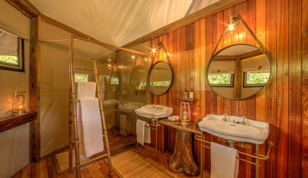 Spacious bathrooms with walk-in shower