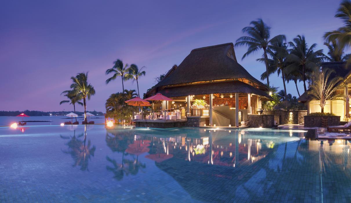 Main swimming pool at dusk
