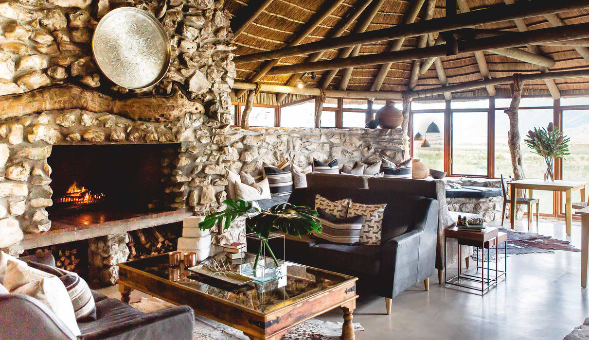 Lounge at Mosaic Lagoon Lodge  - Built with stone and thatch from Mosaic