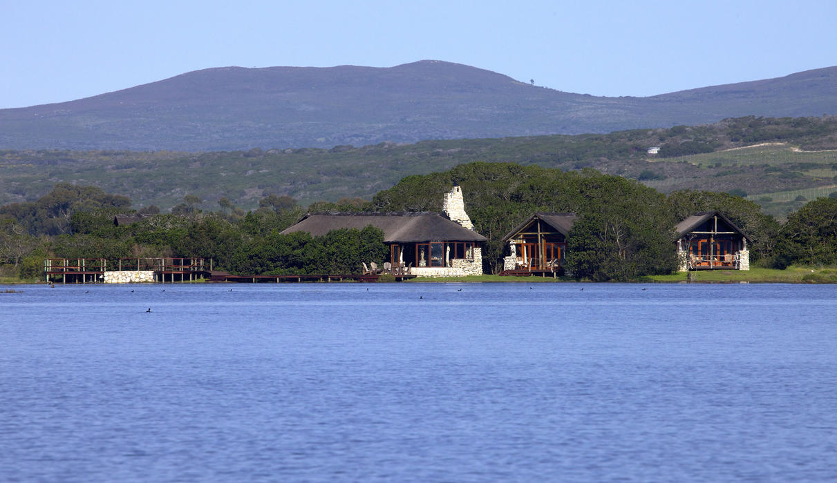 Mosaic Lagoon Lodge in winter high water with an abundance of water birds..