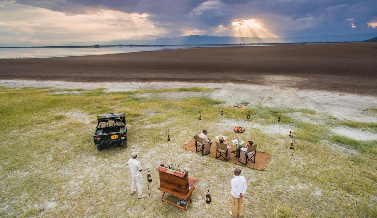 Sun dips below the horizon after a day on safari
