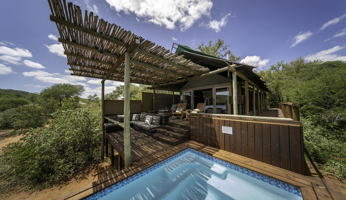 Guests can soak away sublime African hours in their own private plunge pool.