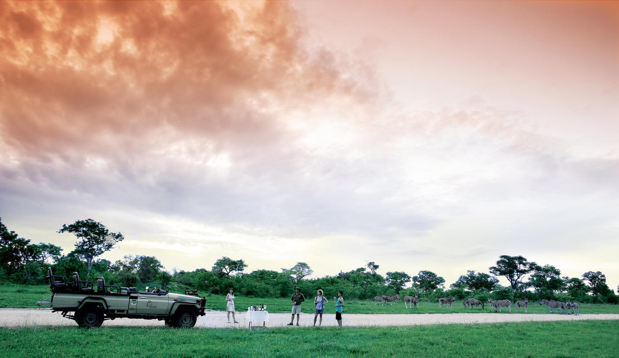 Evening sundowners, which a herd of wild zebra chose to join!