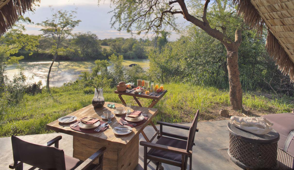 All ten tented suites boast views of the river and its resident hippo