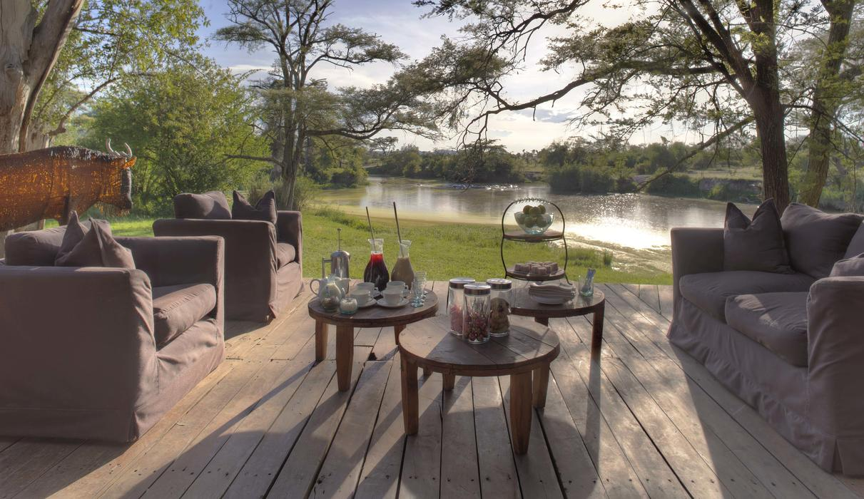 Guest areas boast views of the river and its resident hippo
