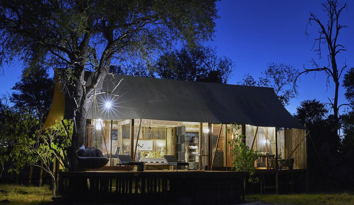 Twin/ Double Tent Exterior at Night