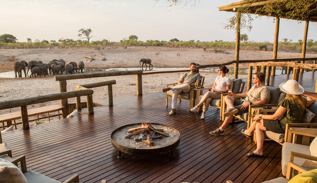 The fire deck at Savute Safari Lodge overlooking the waterhole and Savute Channel