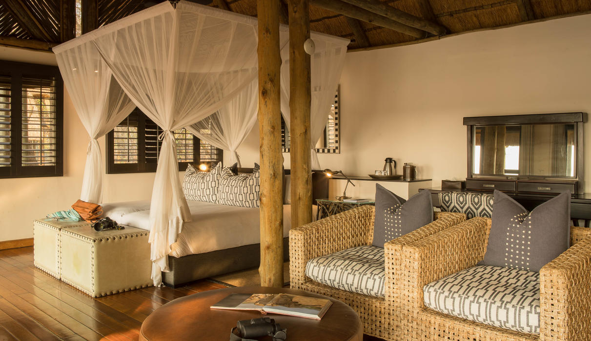 Inside one of the the guest rooms at Savute Safari Lodge