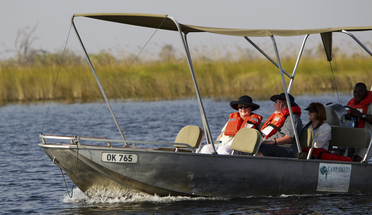 Explore the papyrus lined channels of the Maunachira River in a motor boat
