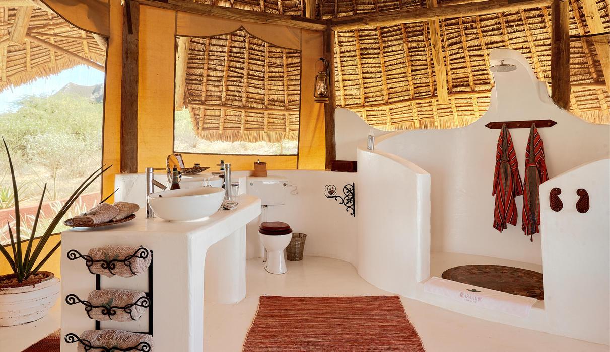 Spacious semi-open bathroom