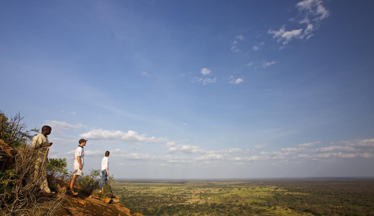 Bush walks to the top of Mughwongo Hill