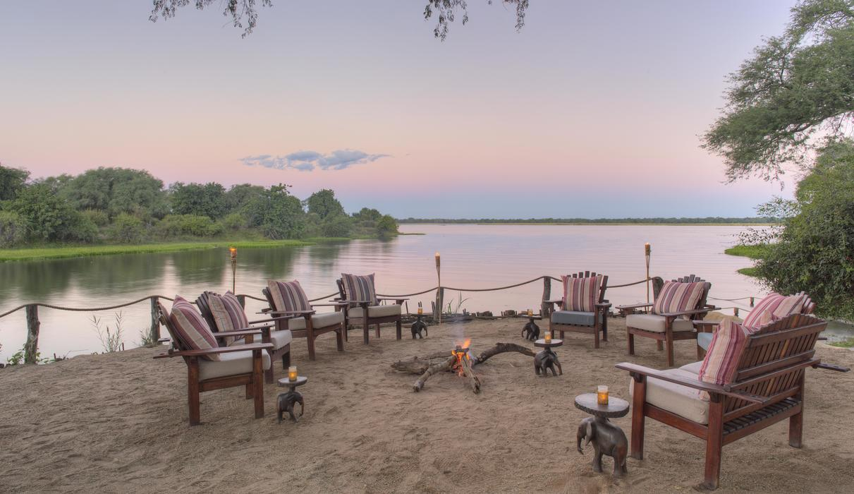 Time + Tide Chongwe River Camp - Main riverfront lounge area