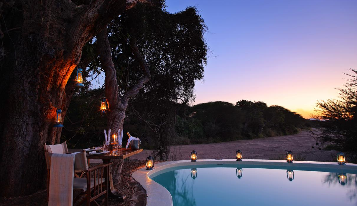 Overlooking the Jongomero snd river, cool off in the only swimming pool in Ruaha National Park
