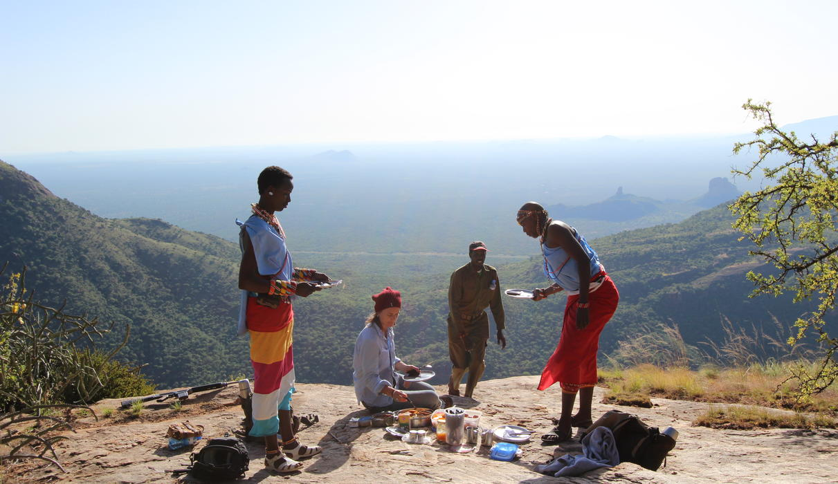 Breakfast atop Mount Ololokwe