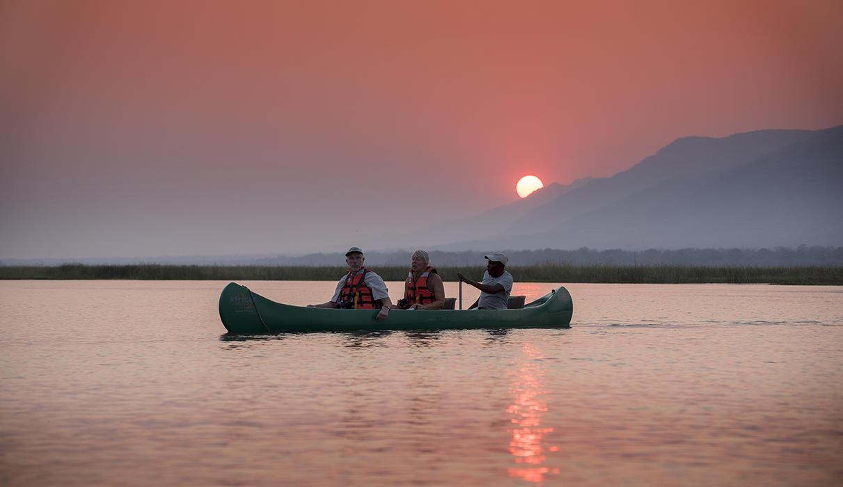 Canoe on the Zambezi River