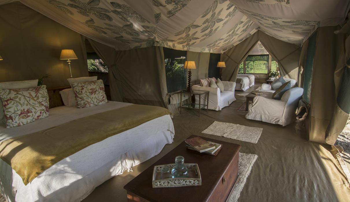 Family tent interior