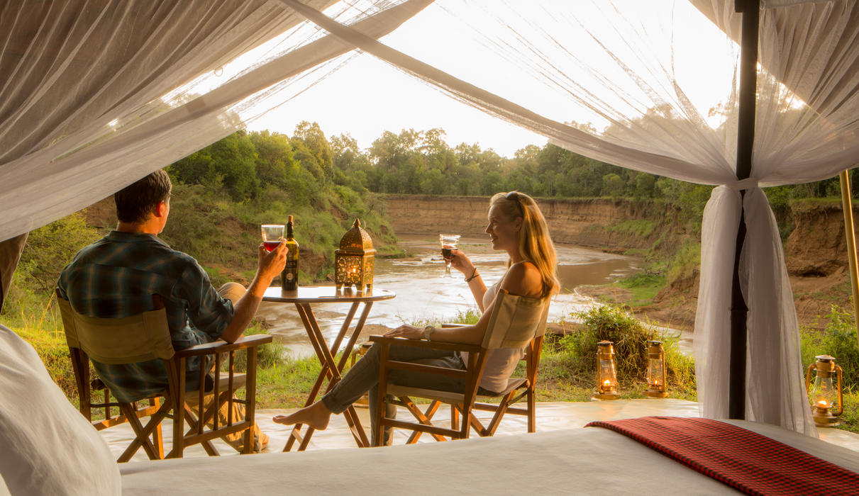 Enjoy the sounds of nature with a drink outside the tent