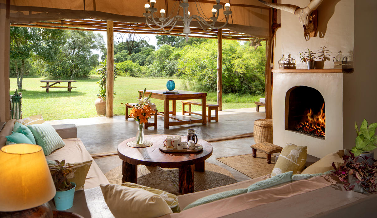 A private lounge in the Marula Cottage