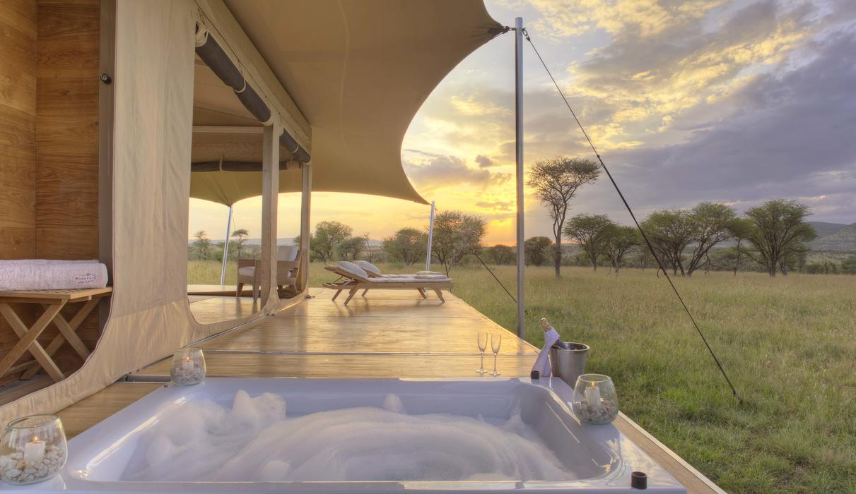 your shower opens up to the savannah and every Rover has a private hot tub on the deck