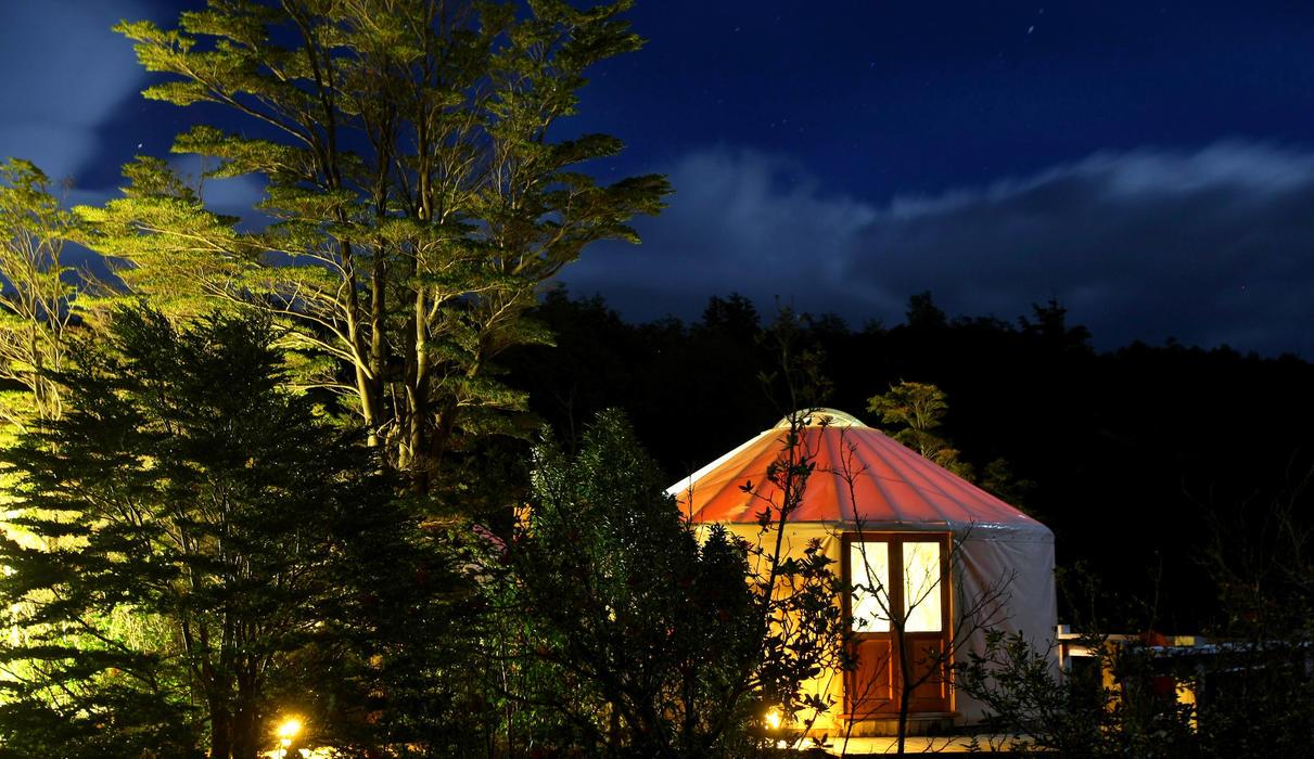 Yurt at night in Patagonia Camp