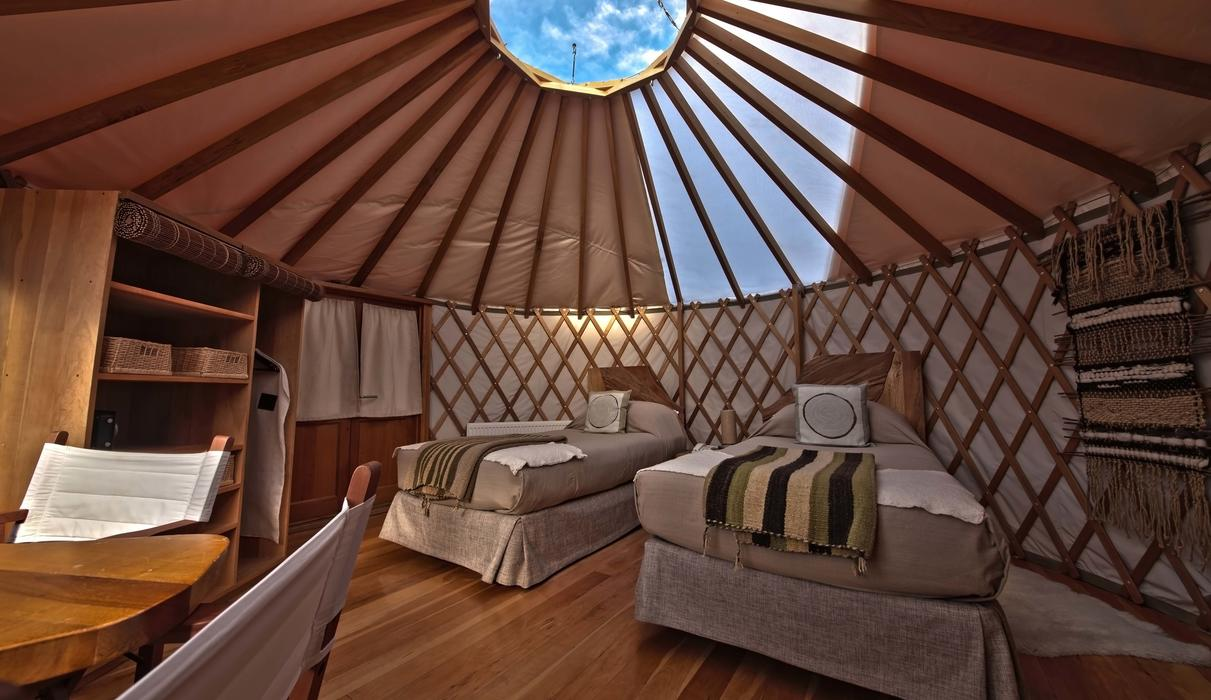 Patagonia Camp Deluxe Yurt twin beds