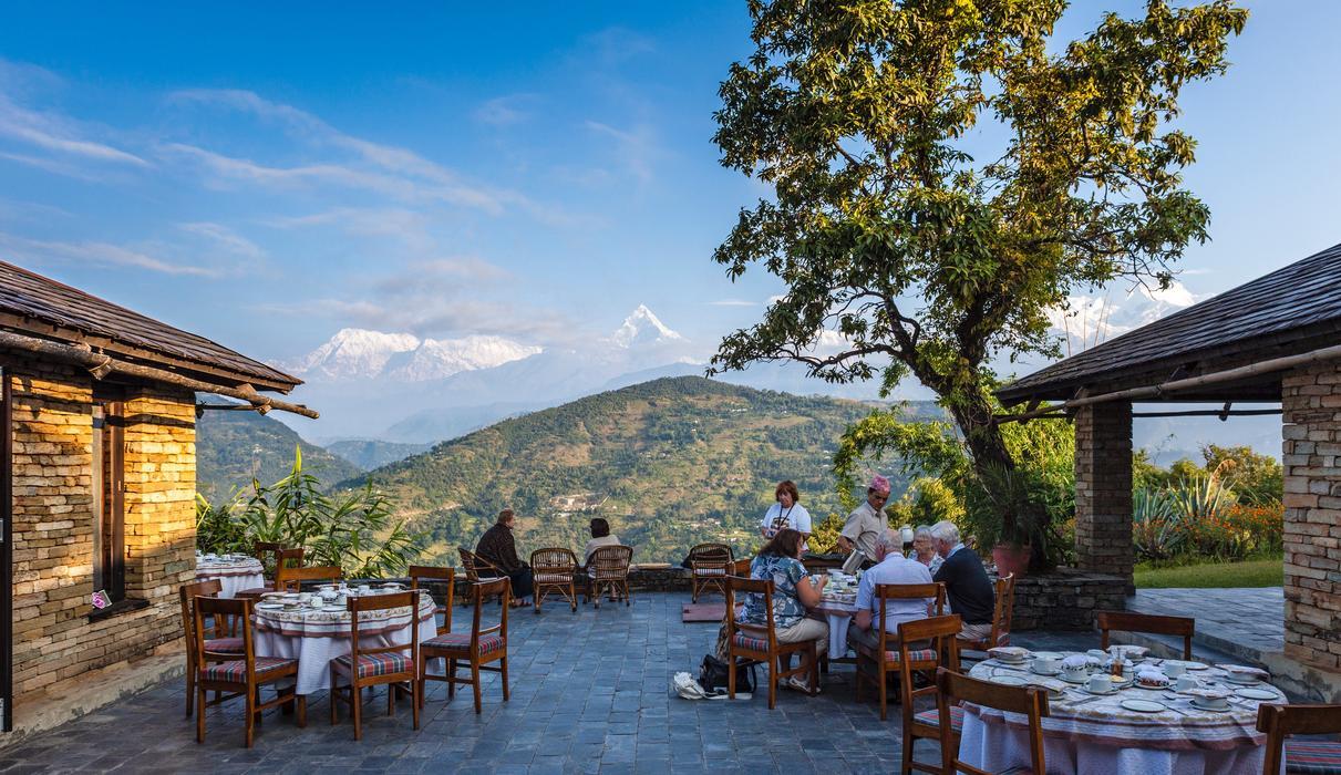 Terrace between bar and dining room - al fresco breakfast