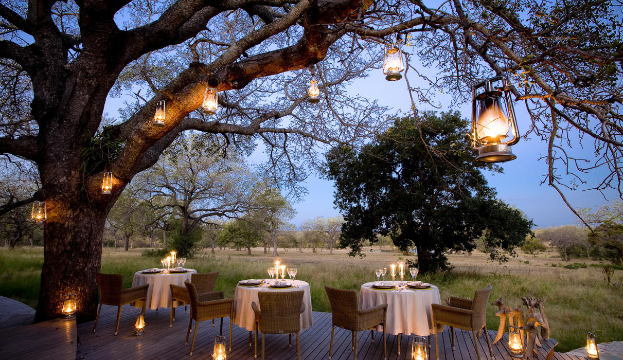 Dining on the deck overlooking the waterhole