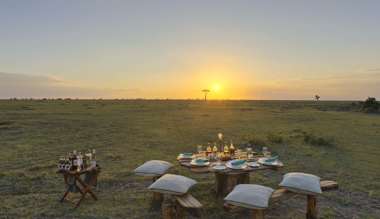 Bush meal with a view of sunset
