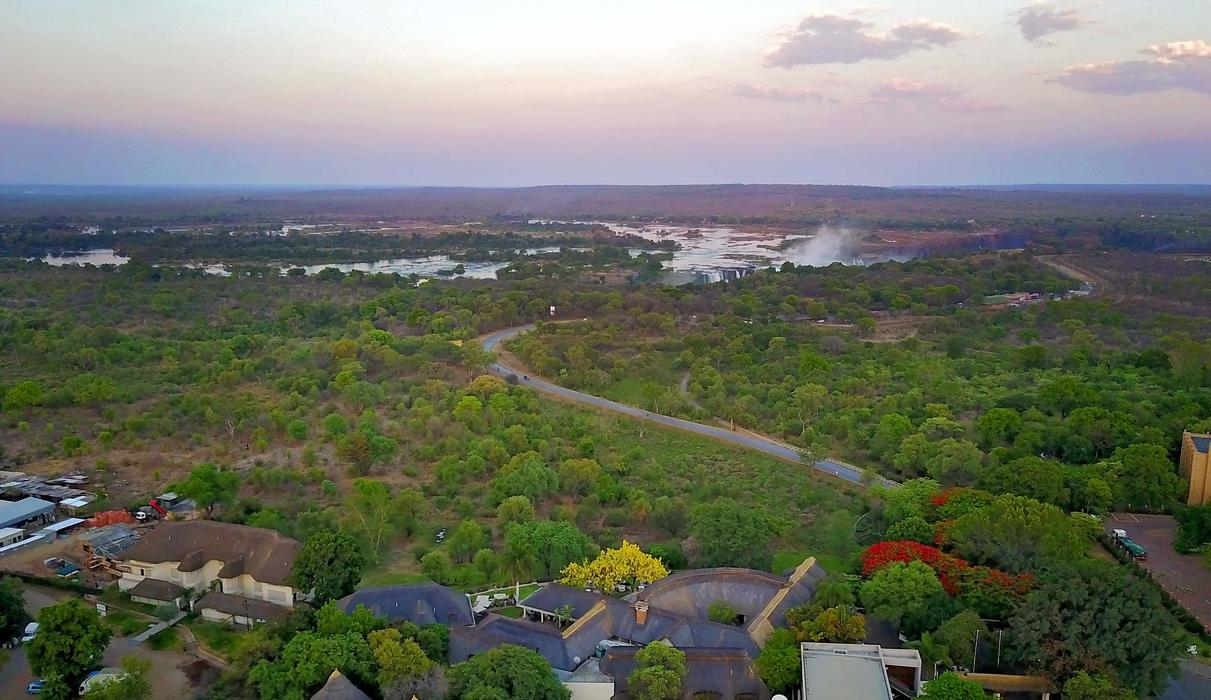 Arial view, spray of the falls from Ilala Lodge
