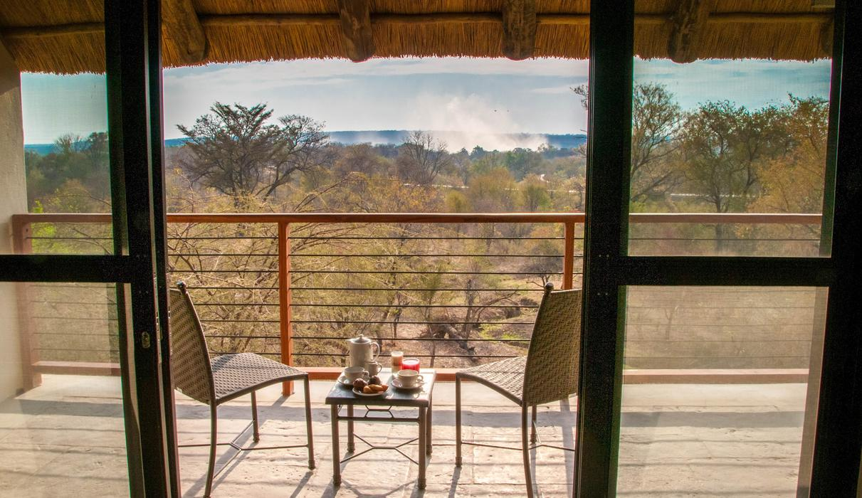 View from Deluxe wing top floor looking at Victoria Falls Spray