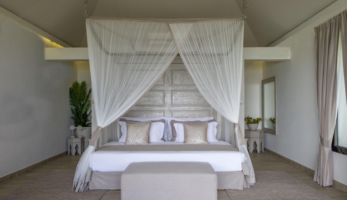 A view of the villa bedroom in Zawadi Hotel, Zanzibar