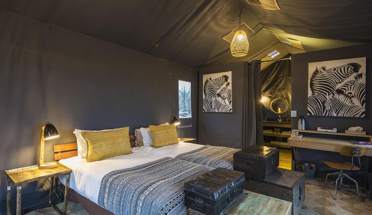 A guest tent with en-suite bathroom