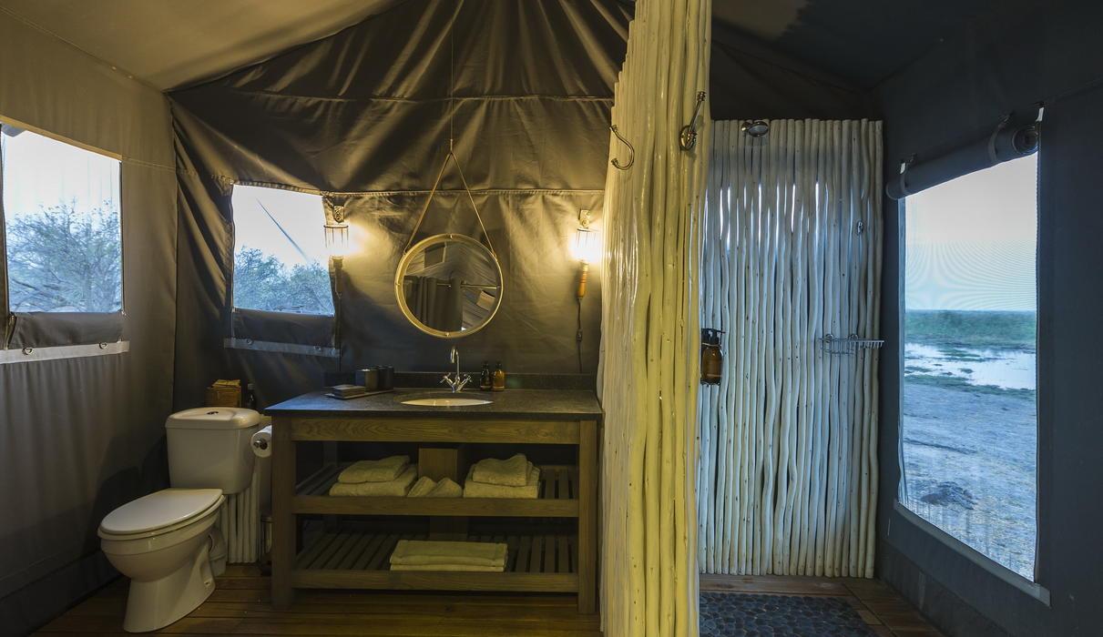 En-suite bathroom in guest tent