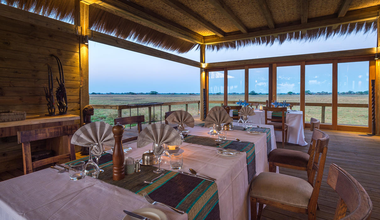 Dining area looking over the Busanga Plains