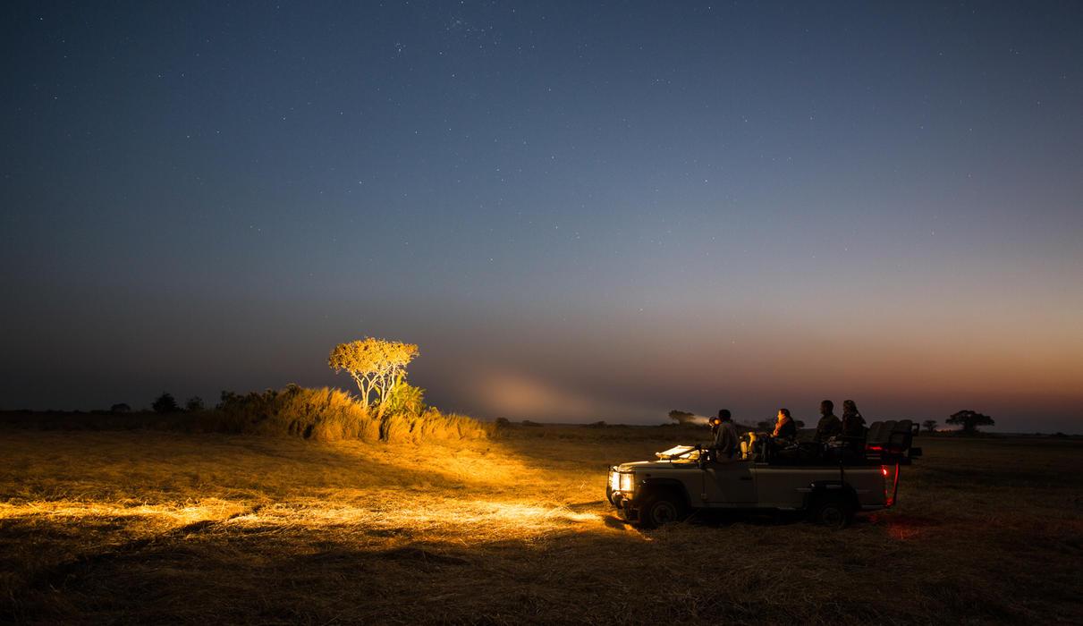 Night drive on the Busanga Plains