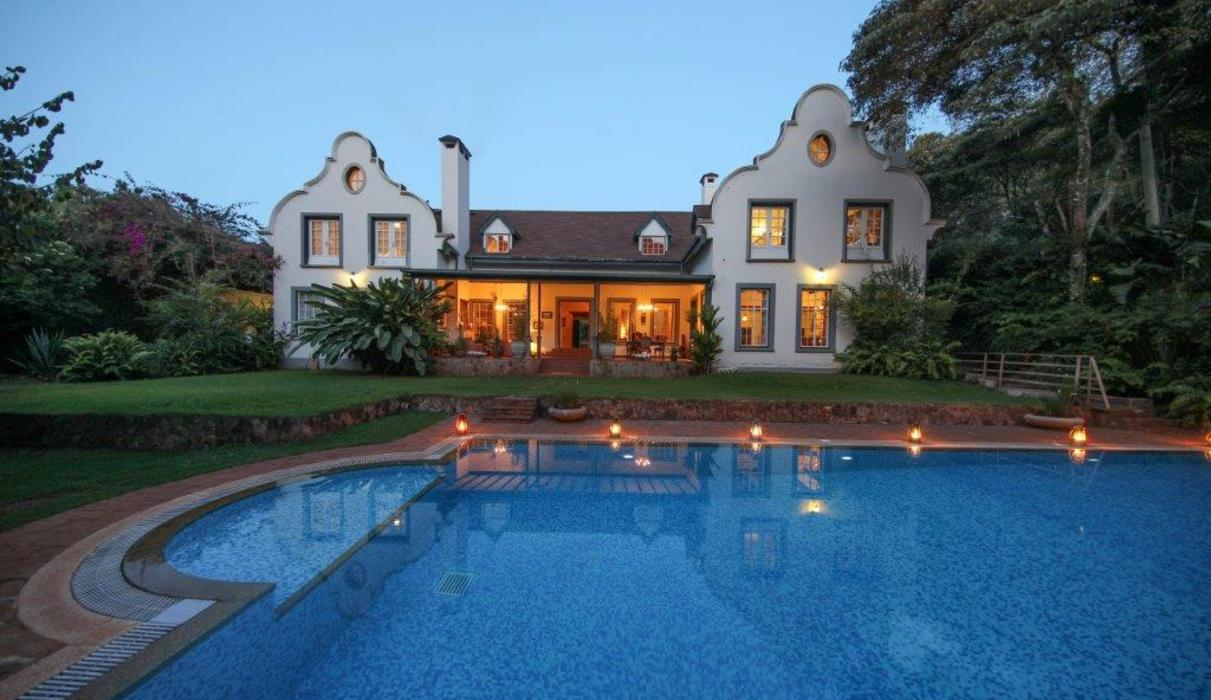 sunset back view  with swimming pool