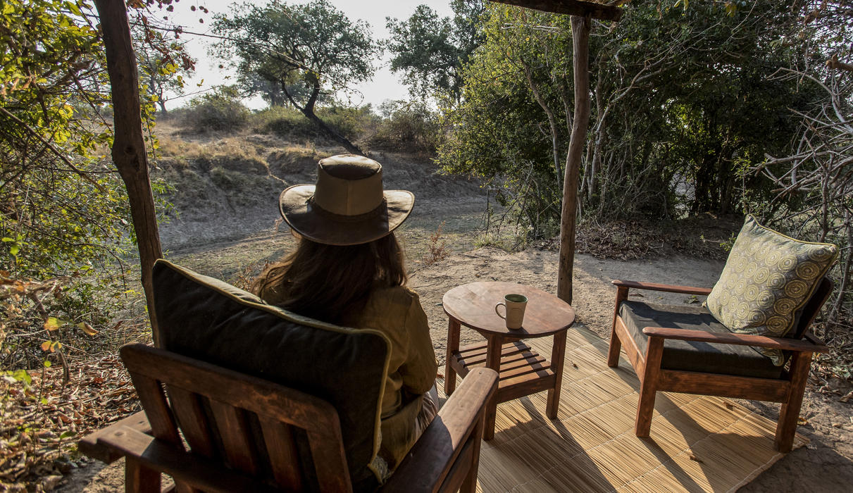 All chalets have a lovely seating area over looking the dried out Mwamba River