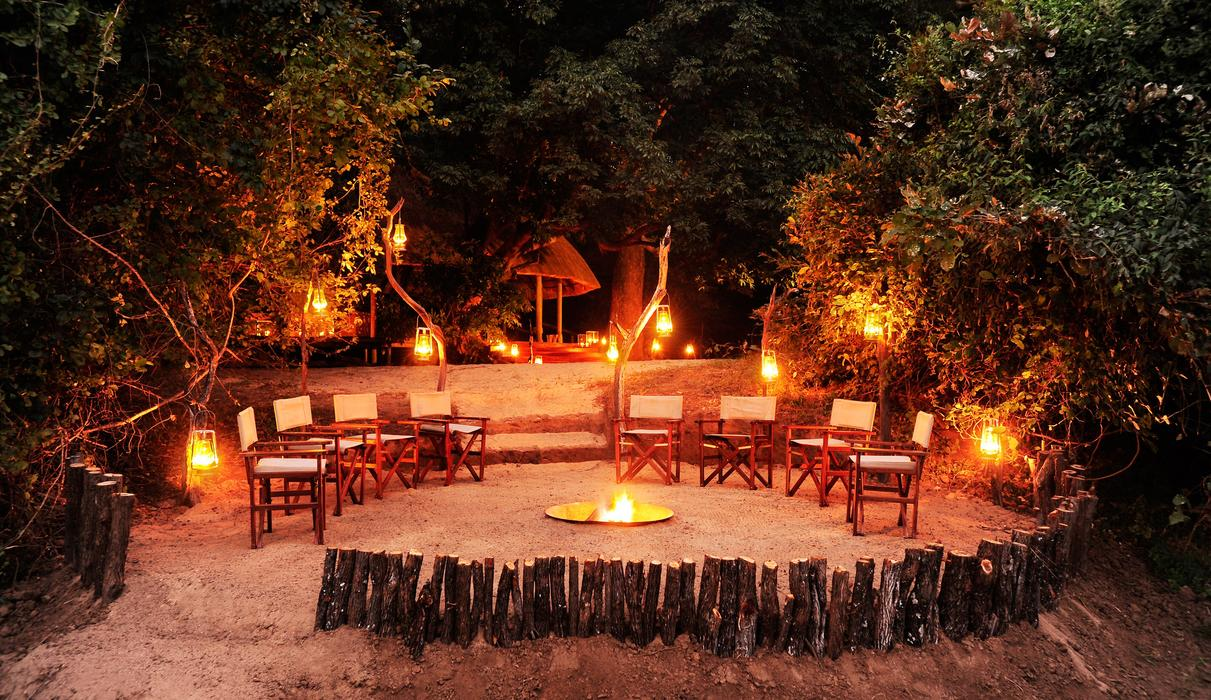 Outside seating area around the fire