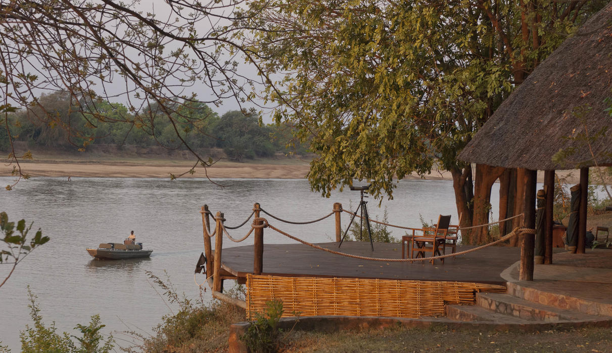 Bar on the banks of the Luangwa River overlooking the Park