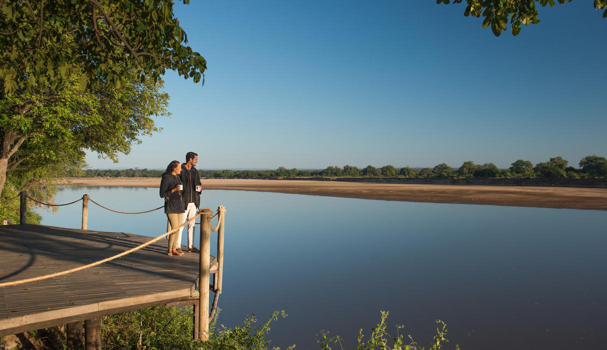 Nkwali bar views across the Luangwa onto the Park