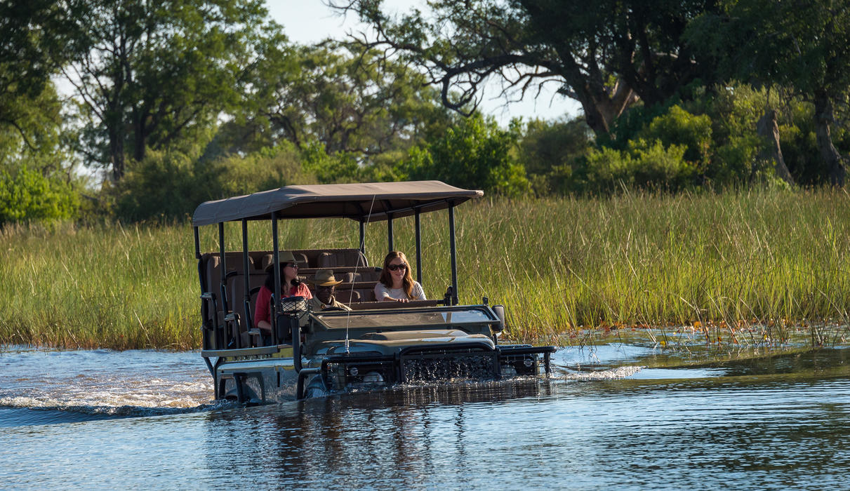 Intrepid vehicles cross the channels with ease during a game drive