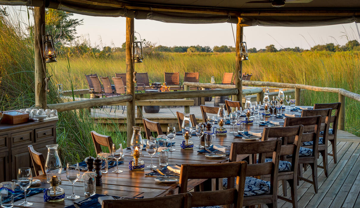Safari-style communal dining at Little Vumbura