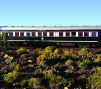 The train travelling through the Karoo on its way to Cape Town