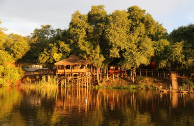 Lodge deck on the Okavango River