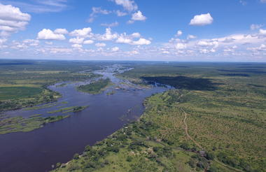 Aerial View of the Mpala Jena Concession & the Zambezi River