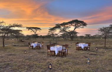 Dinner under the stars at Ndutu Safari Lodge